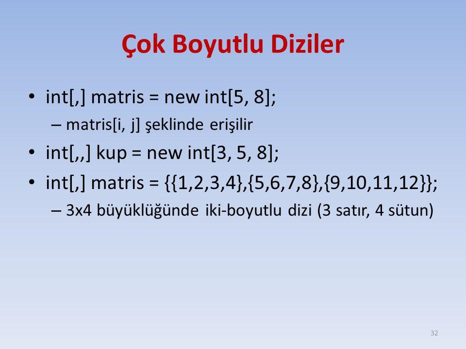 Çok Boyutlu Diziler int[,] matris = new int[5, 8];